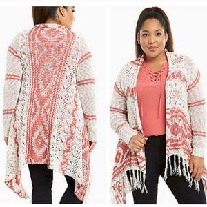 Torrid Knit Aztec Fringe Open Draped Cardigan